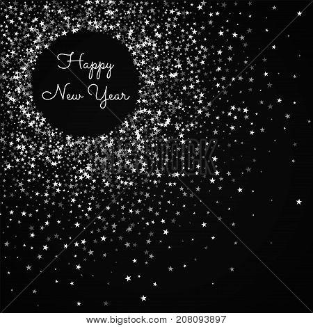 Happy New Year Greeting Card. Amazing Falling Stars Background. Amazing Falling Stars On Black Backg
