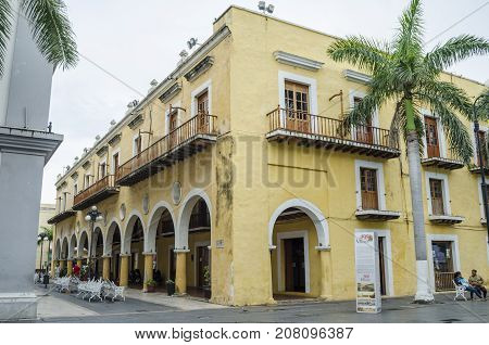 VERACRUZ, MEXICO- SEPTEMBER 27, 2017: Antique yellow building at the historic center of veracruz, Mexico