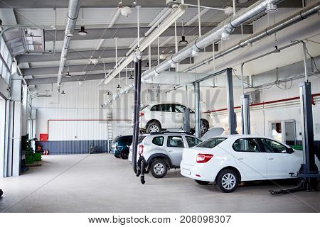 On the raised car there is a replacement of a wheel in car-care center by the skilled mechanic