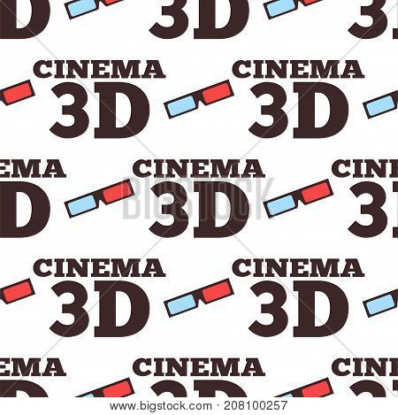 Cinema 3d vector illustration seamless pattern movie entertainment city theater exterior. Urban film icon town vintage premiere show label background.