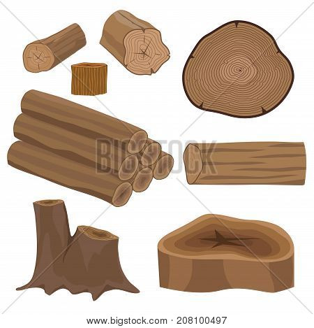 Stacked wood pine timber for construction building cut lumber stump wood materials vector set. Natural forest stack pile rough bark pattern abstract construction.