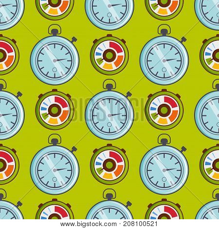 Clock watches vector seamless pattern circle timer colorful measurement tools. Number digital information stopwatch with arrow graphic.