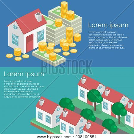 Isometric Flat 3D Isolated Vector Property Investment Concept.