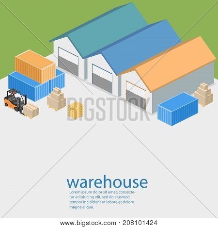 Isometric Flat 3D Concept Vector Warehouse Outside.