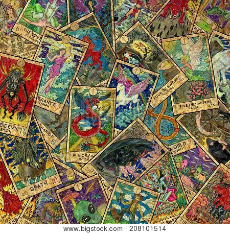 Background with colorful Tarot cards in pile. Esoteric and occult illustrations, wicca and pagan concept