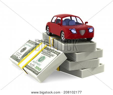 Red car on dollars. Isolated 3D illustration
