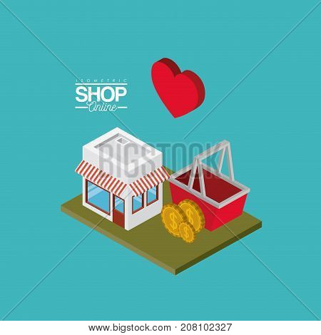 store with sunshade striped red and white and shopping basket coins and heart over green floor colorful poster isometric shop online vector illustration