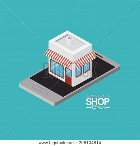 store with striped sunshade red and white over smartphone colorful poster isometric shop online vector illustration