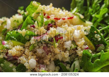 Salad with quinoa and vegetables, closeup