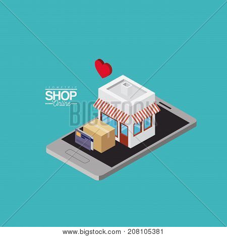 store with striped sunshade red and white and cardboard box and credit cards over smartphone colorful poster isometric shop online vector illustration