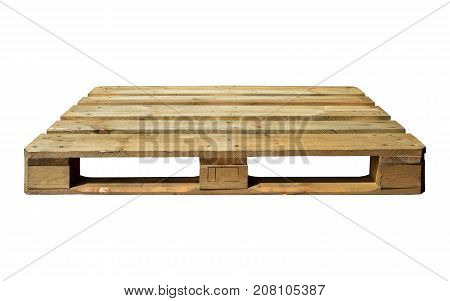 Wooden shipping pallet isolated on a white background
