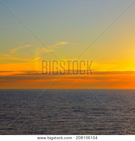Sundown over sea - seascape with sea horizon