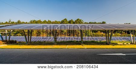 Covered parking space using solar panels for cover along with large solar panel array in a woodland park in South Korea.