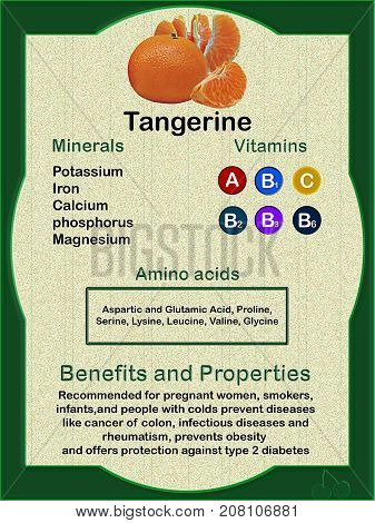 Data sheet on the nutritional composition (vitamins minerals and amino acids) of Tangerine and their health veneers