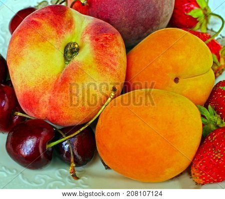 peach cherry saturated colors close-up, summer rural still life