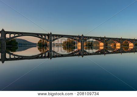 Veterans Memorial Bridge spans the Susquehanna River between Columbia and Wrightsville Pennsylvania