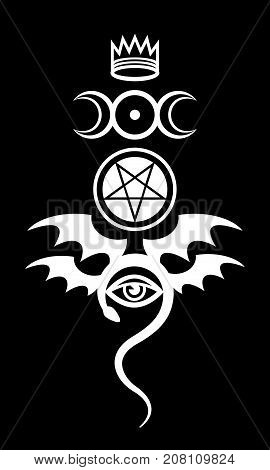 EVIL EYE (The Greater Malefic). Emblem of Witchcraft and Sign of Necromancy. Mystical Diabolic Symbol. Evil in its pure form.