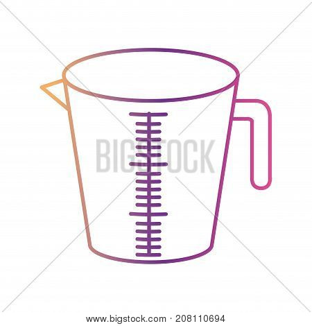 jar with handle and measure scale silhouette gradient color from magenta to purple vector illustration