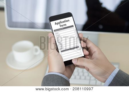 Business Man Working On Laptop Computer Use Online Web Job Application Form Moniter