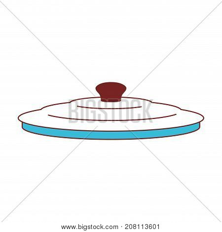 pan lid color sections silhouette vector illustration
