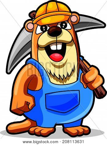 Cute groundhog wearing safety hat holding a tool, vector illustration