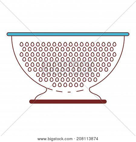kitchen drainer utensil color sections silhouette vector illustration