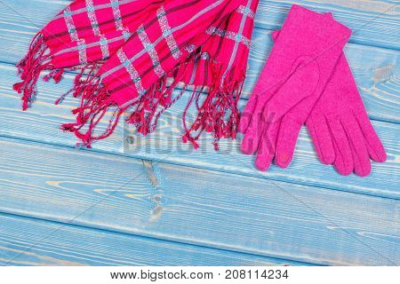 Womanly Gloves And Shawl On Old Boards, Clothing For Autumn Or Winter, Copy Space For Text