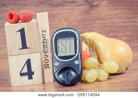 Date Of 14 November, Glucose Meter And Fruits, World Diabetes Day Concept