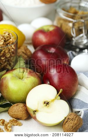 Ingredients for baking apple and nuts pie