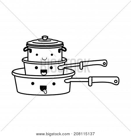 stewpan and cooking pot stack monochrome kawaii silhouette vector illustration