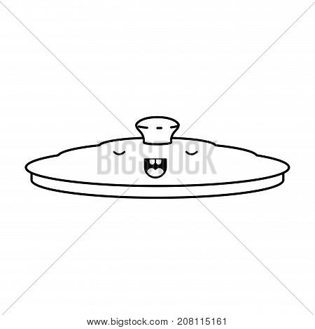 pan lid flat monochrome kawaii silhouette vector illustration