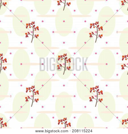 Floral seamless pattern with cranberry. Vector swatch for textile or wrapping paper