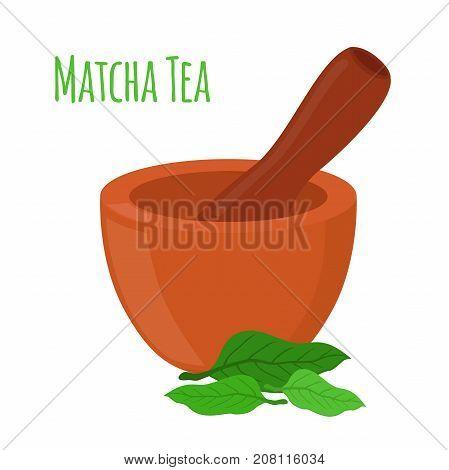 Matcha tea, mortar, pestle. Organic drink, powder. Made in cartoon flat style. Vector illustration