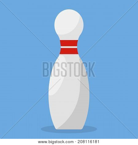 The pin. Bowling. White. Simple flat style. Icon. For your design.