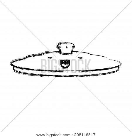 pan lid flat monochrome blurred kawaii silhouette vector illustration