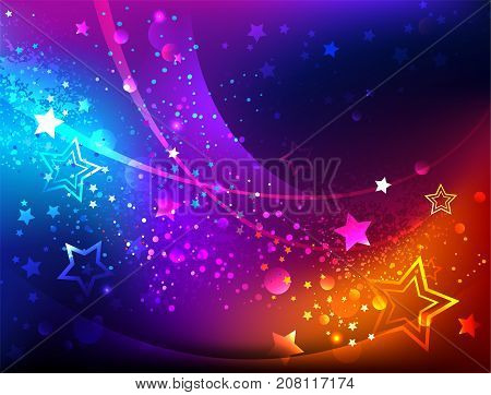 Bright abstract iridescent background with luminous stars. Northern Lights. Design with stars.