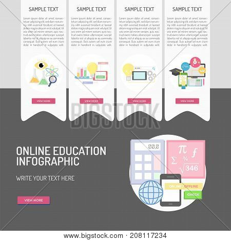 E-Learning and Online Education | Set of great infographic flat design illustration concepts for education, learning, internet, network and much more.