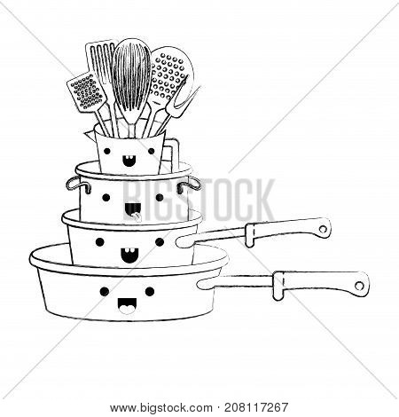 stewpan stack and kitchen utensils monochrome blurred kawaii silhouette vector illustration