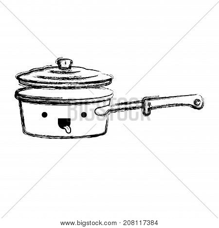 pan with handle and lid monochrome blurred kawaii silhouette vector illustration
