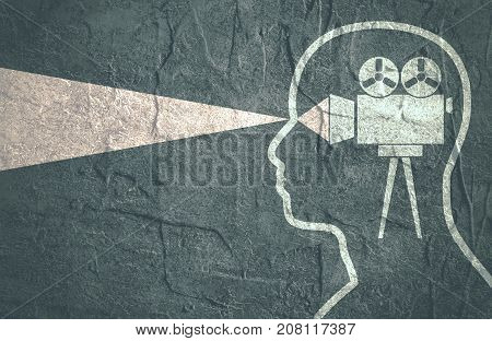 Set of silhouettes of a man's head with retro film projector. Grunge distress texture.