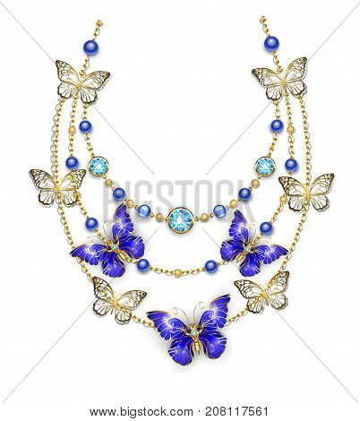 Necklace of gold chains adorned with blue beads and sapphire butterflies. Design of jewelry