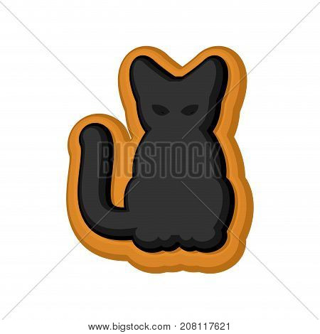 Halloween Cookie Black Cat. Cookies For Terrible Holiday. Vector Illustration