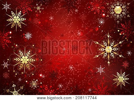 Red Christmas background with gold and red jewelry snowflakes. Gold snowflakes.