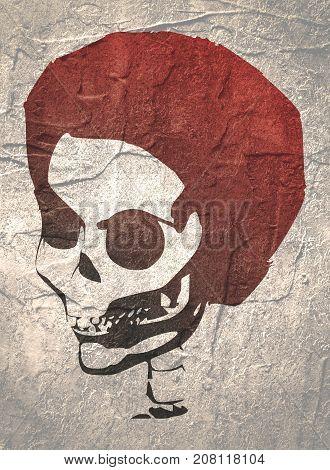 Anatomic Skull. Detailed illustration of human skull. Grunge distress texture.
