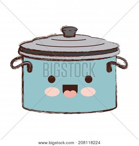 cooking pot with lid colorful kawaii blurred contour vector illustration