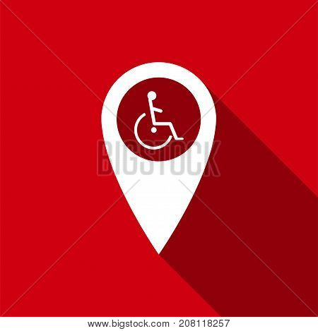 Disabled Handicap icon in map pointer. Invalid symbol icon isolated with long shadow. Flat design. Vector Illustration