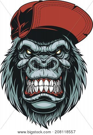 Vector illustration of a happy gorilla head in a red baseball cap, on a white background