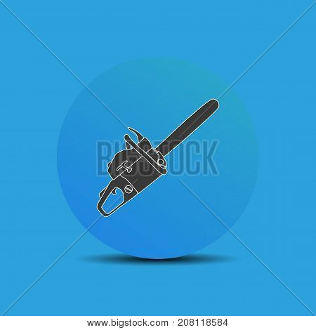 Chainsaw icon in flat style on blue background. For your design, logo. Vector illustration.