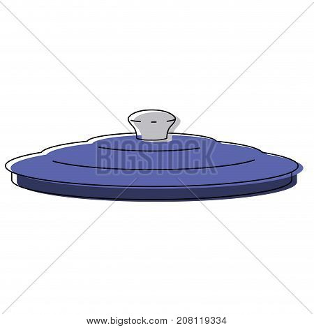 pan lid utensil colorful watercolor silhouette vector illustration