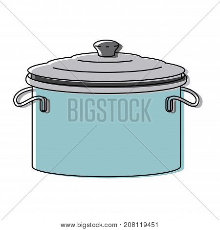 cooking pot with lid colorful watercolor silhouette vector illustration